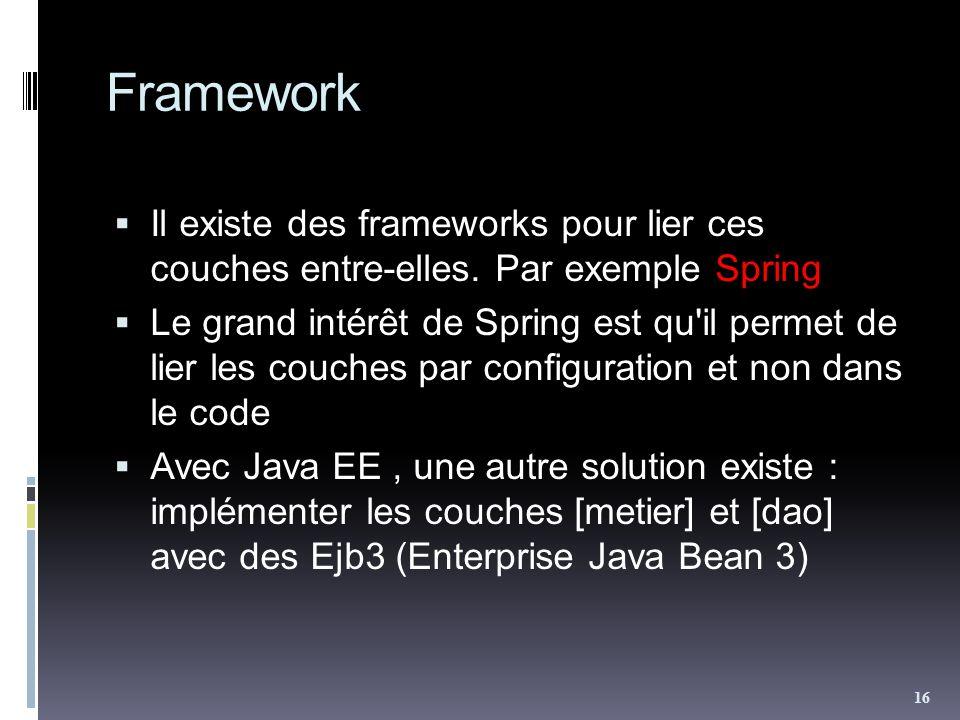 Framework Il existe des frameworks pour lier ces couches entre-elles. Par exemple Spring Le grand intérêt de Spring est qu'il permet de lier les couch