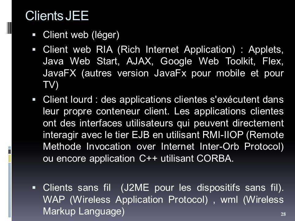 Clients JEE Client web (léger) Client web RIA (Rich Internet Application) : Applets, Java Web Start, AJAX, Google Web Toolkit, Flex, JavaFX (autres ve