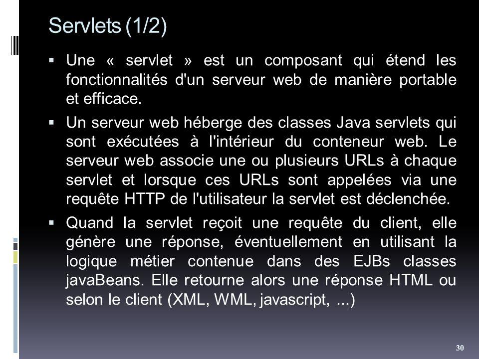 Servlets (1/2) Une « servlet » est un composant qui étend les fonctionnalités d'un serveur web de manière portable et efficace. Un serveur web héberge