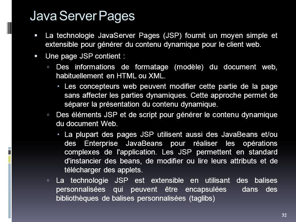 Java Server Pages La technologie JavaServer Pages (JSP) fournit un moyen simple et extensible pour générer du contenu dynamique pour le client web. Un