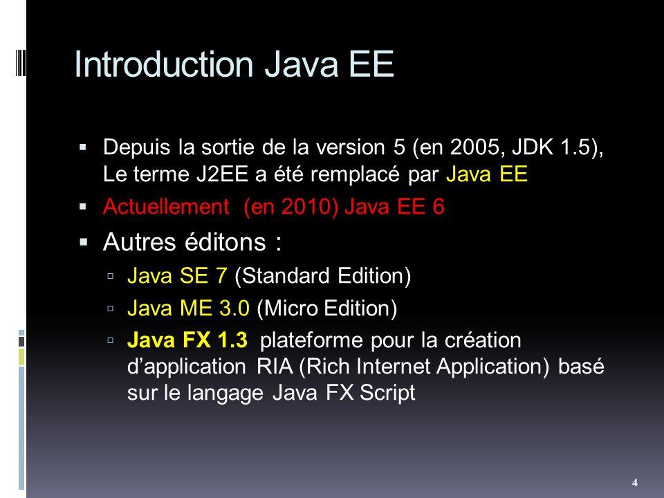 Introduction Java EE Depuis la sortie de la version 5 (en 2005, JDK 1.5), Le terme J2EE a été remplacé par Java EE Actuellement (en 2010) Java EE 6 Autres éditons : Java SE 7 (Standard Edition) Java ME 3.0 (Micro Edition) Java FX 1.3 plateforme pour la création dapplication RIA (Rich Internet Application) basé sur le langage Java FX Script 4