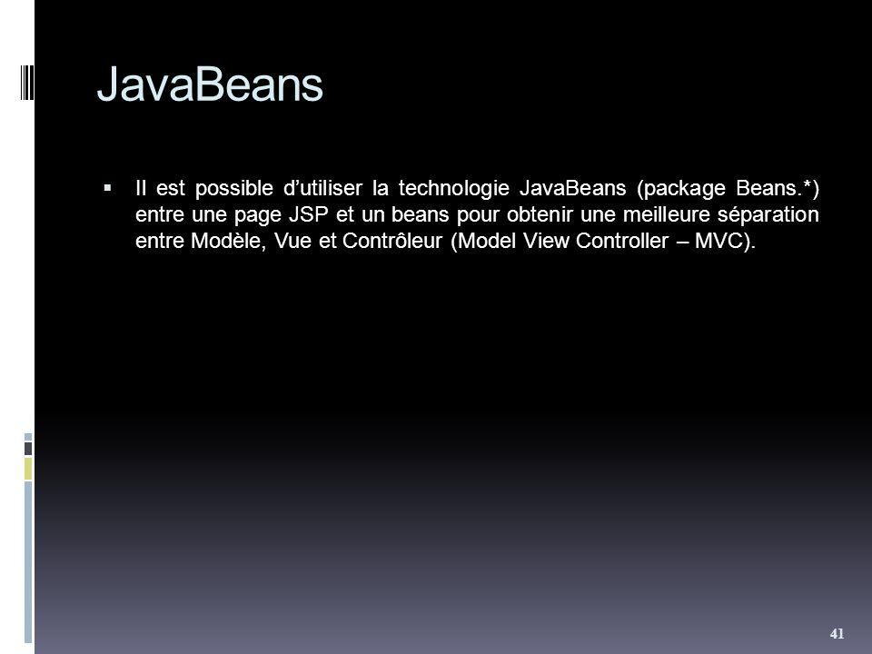 JavaBeans Il est possible dutiliser la technologie JavaBeans (package Beans.*) entre une page JSP et un beans pour obtenir une meilleure séparation entre Modèle, Vue et Contrôleur (Model View Controller – MVC).