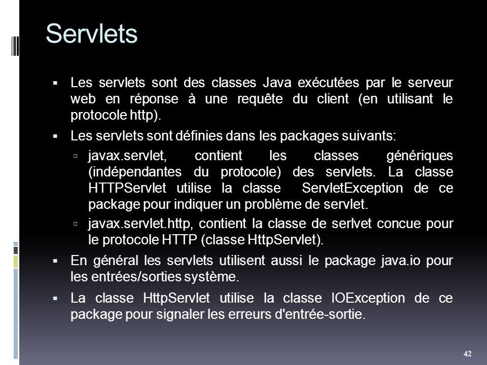 Servlets Les servlets sont des classes Java exécutées par le serveur web en réponse à une requête du client (en utilisant le protocole http). Les serv