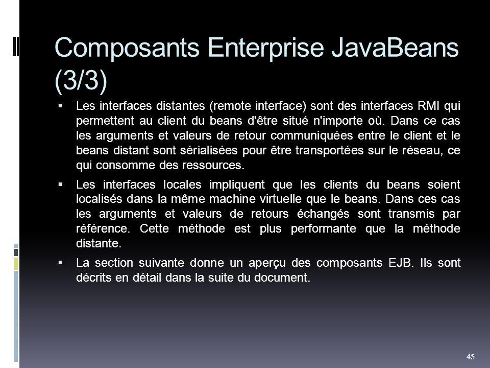 Composants Enterprise JavaBeans (3/3) Les interfaces distantes (remote interface) sont des interfaces RMI qui permettent au client du beans d'être sit