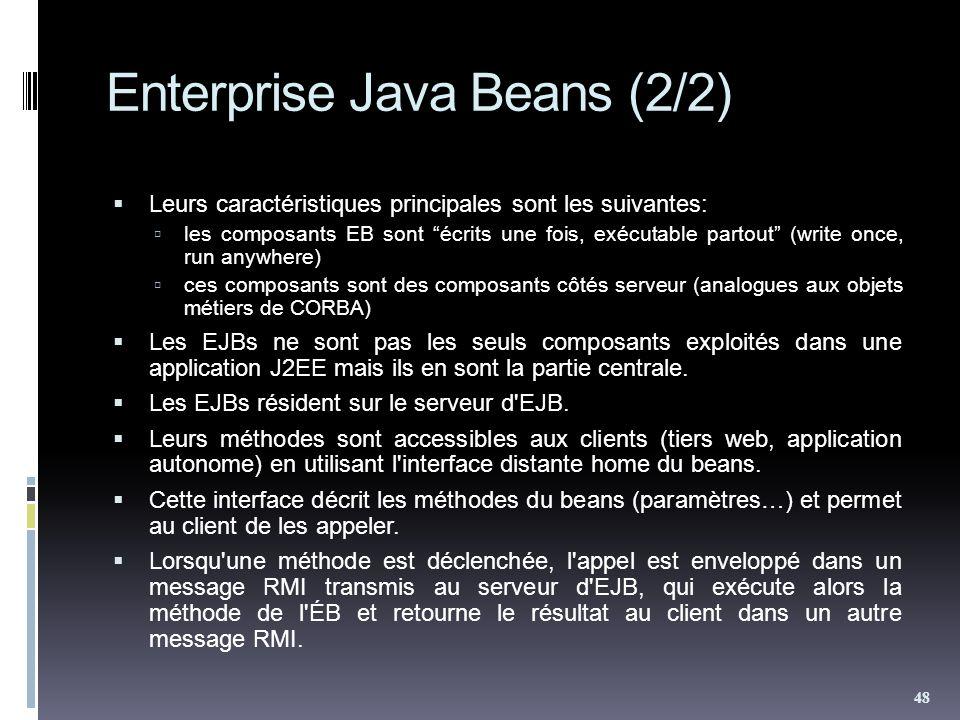 Enterprise Java Beans (2/2) Leurs caractéristiques principales sont les suivantes: les composants EB sont écrits une fois, exécutable partout (write once, run anywhere) ces composants sont des composants côtés serveur (analogues aux objets métiers de CORBA) Les EJBs ne sont pas les seuls composants exploités dans une application J2EE mais ils en sont la partie centrale.