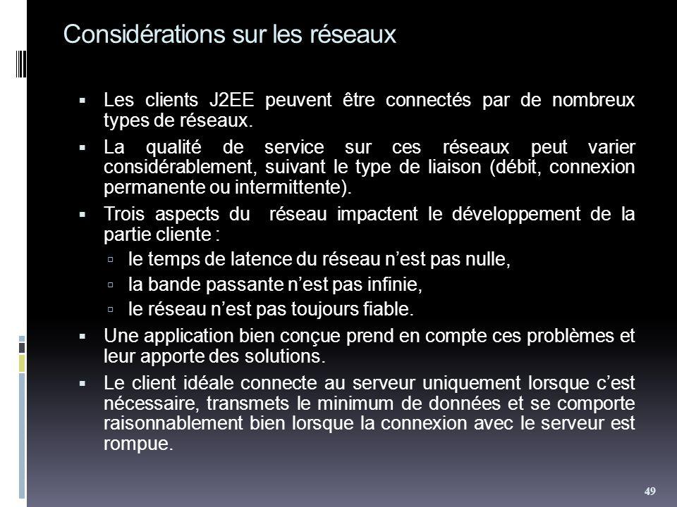 Considérations sur les réseaux Les clients J2EE peuvent être connectés par de nombreux types de réseaux. La qualité de service sur ces réseaux peut va