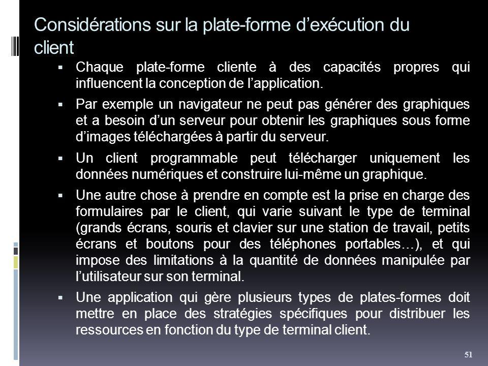 Considérations sur la plate-forme dexécution du client Chaque plate-forme cliente à des capacités propres qui influencent la conception de lapplication.