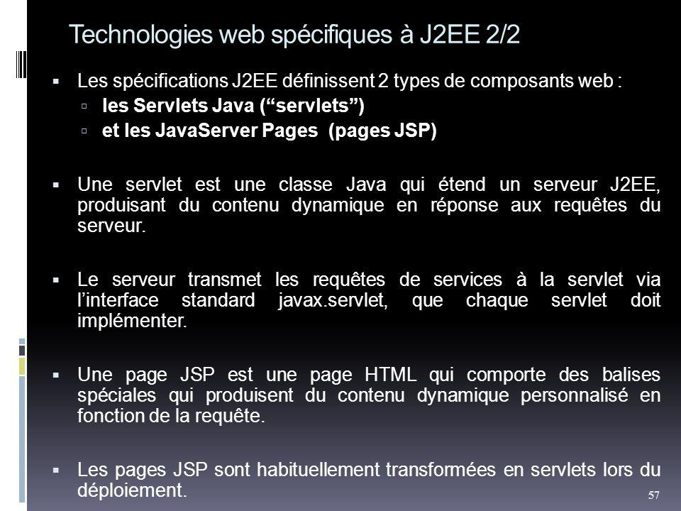 Technologies web spécifiques à J2EE 2/2 Les spécifications J2EE définissent 2 types de composants web : les Servlets Java (servlets) et les JavaServer