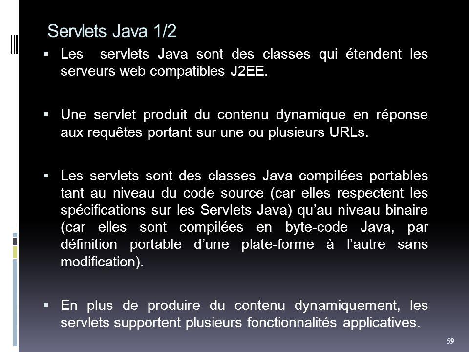 Servlets Java 1/2 Les servlets Java sont des classes qui étendent les serveurs web compatibles J2EE. Une servlet produit du contenu dynamique en répon