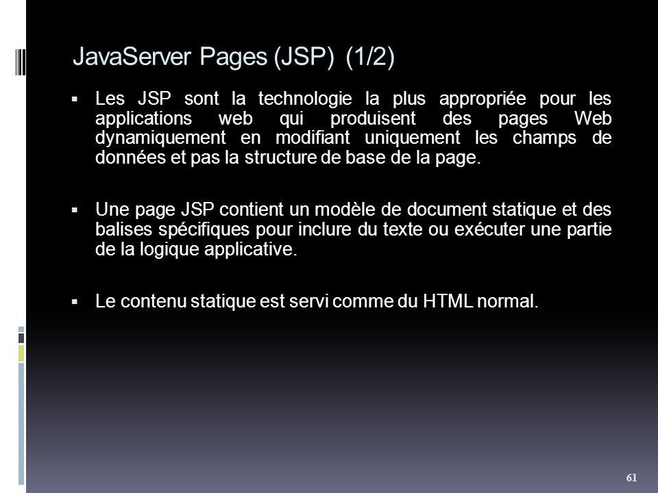 JavaServer Pages (JSP) (1/2) Les JSP sont la technologie la plus appropriée pour les applications web qui produisent des pages Web dynamiquement en modifiant uniquement les champs de données et pas la structure de base de la page.