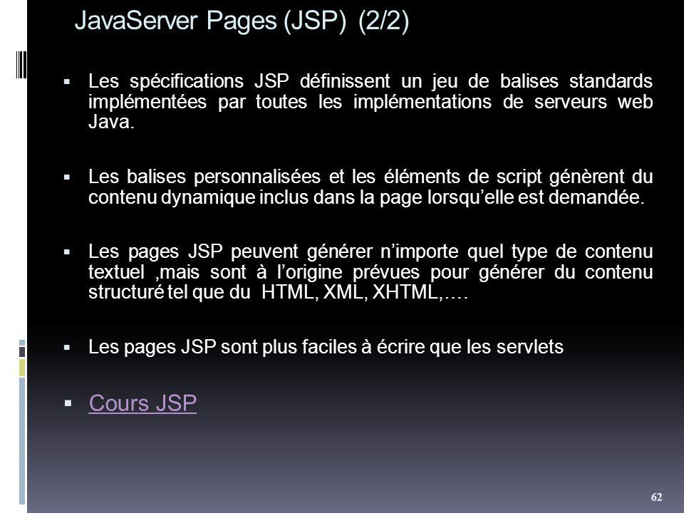 JavaServer Pages (JSP) (2/2) Les spécifications JSP définissent un jeu de balises standards implémentées par toutes les implémentations de serveurs web Java.