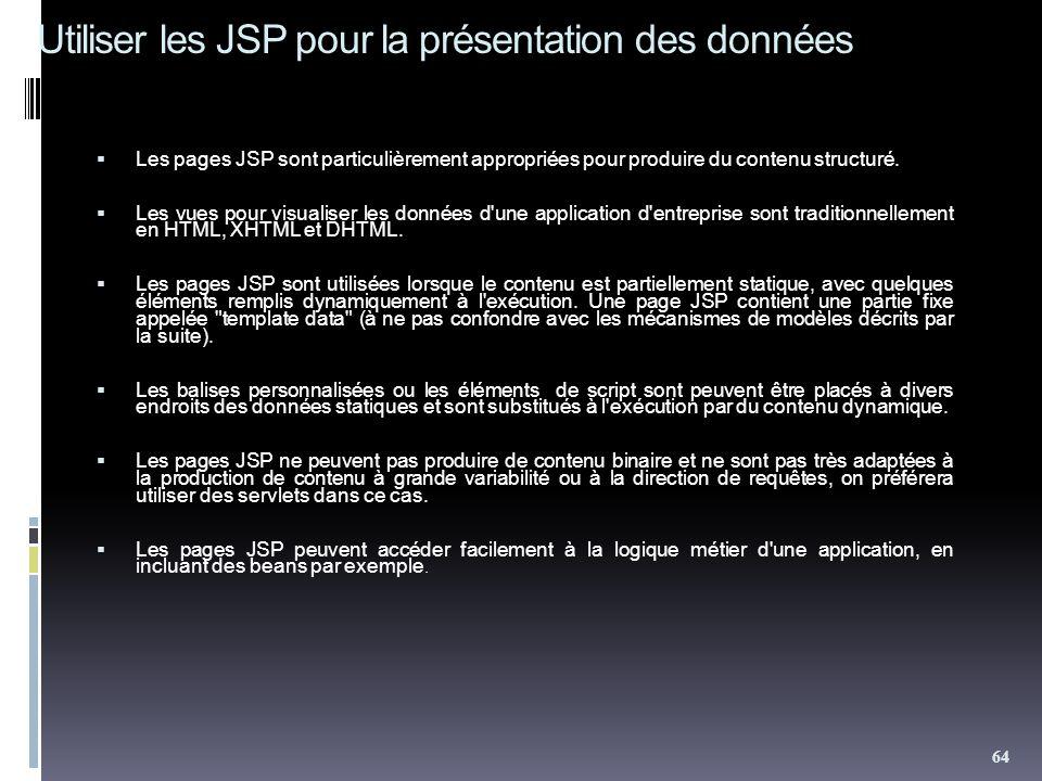 Utiliser les JSP pour la présentation des données Les pages JSP sont particulièrement appropriées pour produire du contenu structuré. Les vues pour vi