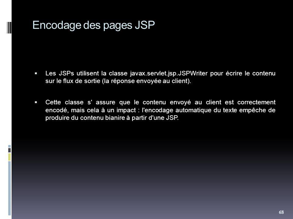 Encodage des pages JSP Les JSPs utilisent la classe javax.servlet.jsp.JSPWriter pour écrire le contenu sur le flux de sortie (la réponse envoyée au client).