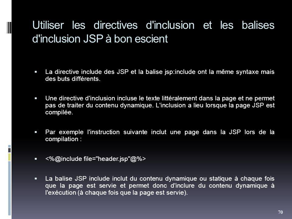 Utiliser les directives d inclusion et les balises d inclusion JSP à bon escient La directive include des JSP et la balise jsp:include ont la même syntaxe mais des buts différents.