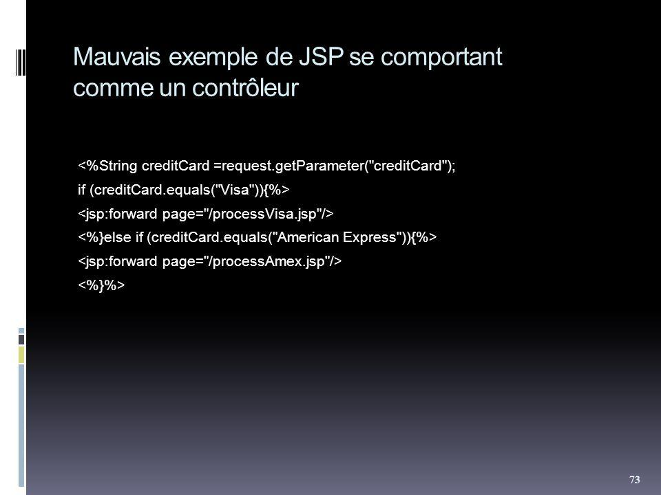 Mauvais exemple de JSP se comportant comme un contrôleur <%String creditCard =request.getParameter( creditCard ); if (creditCard.equals( Visa )){%> 73