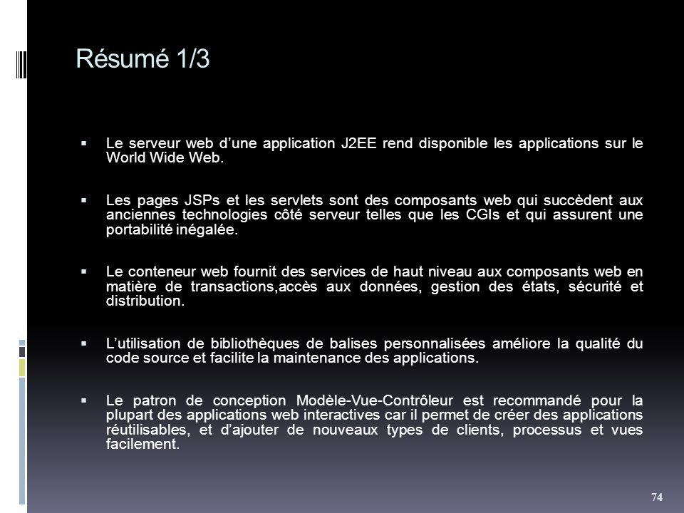 Résumé 1/3 Le serveur web dune application J2EE rend disponible les applications sur le World Wide Web. Les pages JSPs et les servlets sont des compos