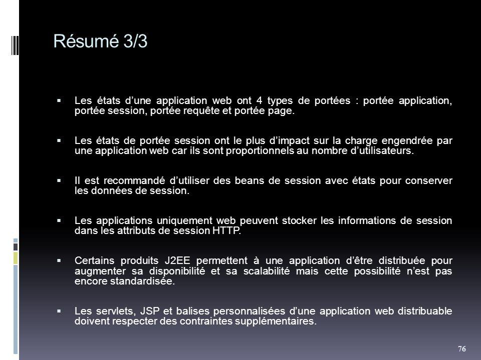 Résumé 3/3 Les états dune application web ont 4 types de portées : portée application, portée session, portée requête et portée page. Les états de por