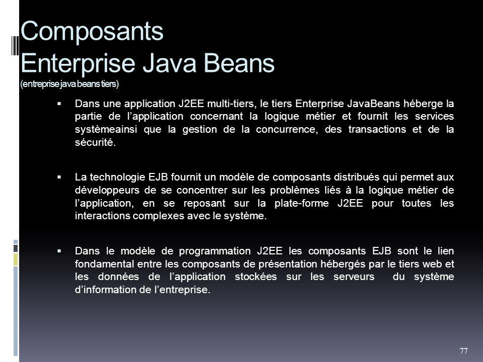 Composants Enterprise Java Beans (entreprise java beans tiers) Dans une application J2EE multi-tiers, le tiers Enterprise JavaBeans héberge la partie