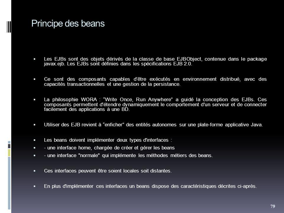 Principe des beans Les EJBs sont des objets dérivés de la classe de base EJBObject, contenue dans le package javax.ejb.