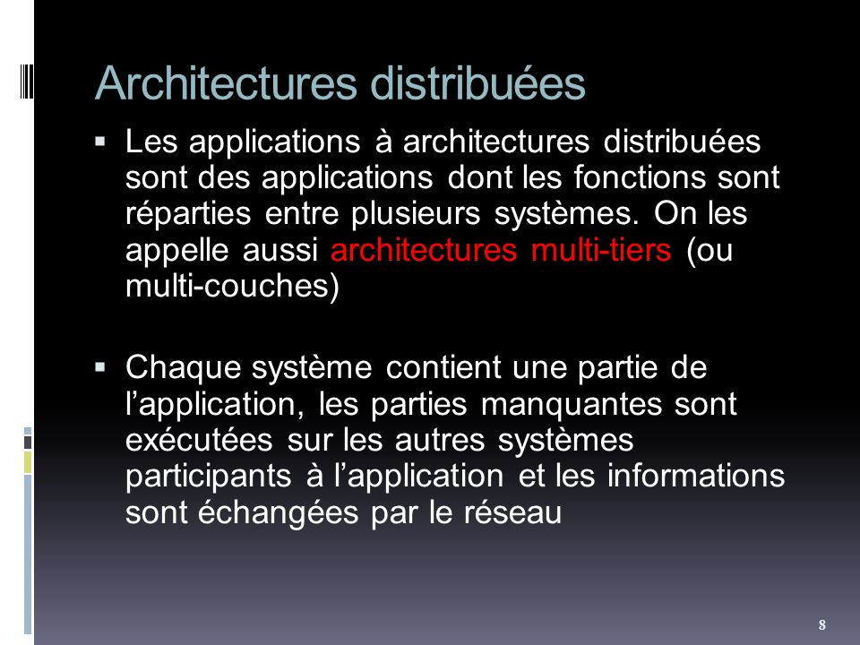 Architectures distribuées Les applications à architectures distribuées sont des applications dont les fonctions sont réparties entre plusieurs système