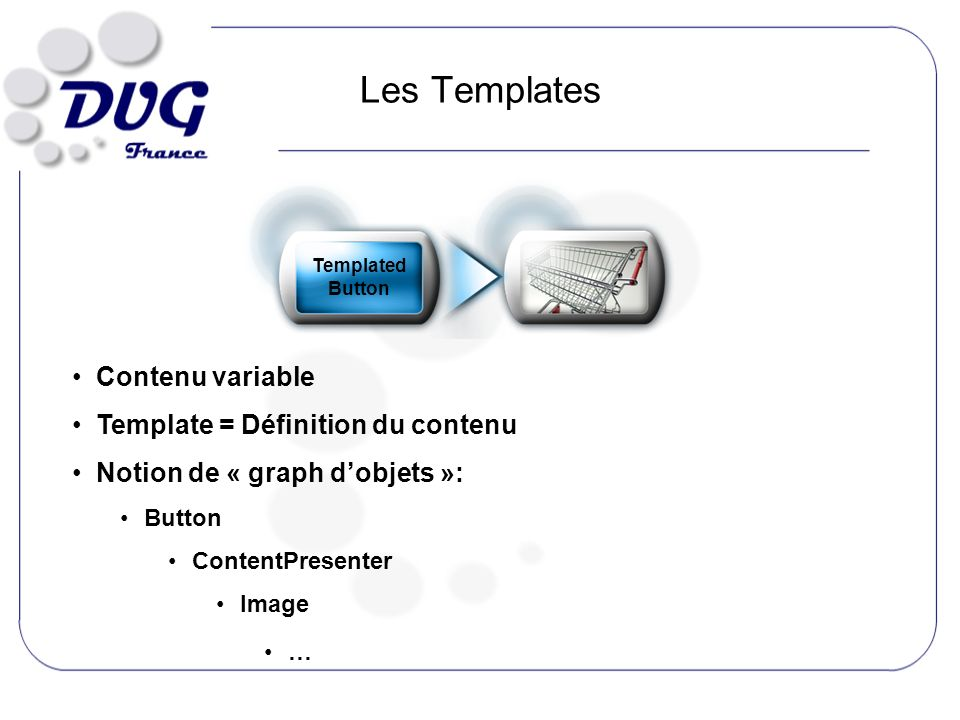 Les Templates Contenu variable Template = Définition du contenu Notion de « graph dobjets »: Button ContentPresenter Image … Templated Button