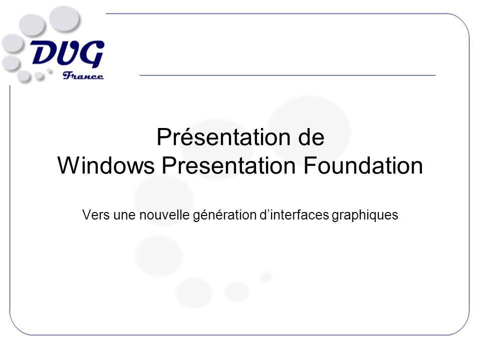 Présentation de Windows Presentation Foundation Vers une nouvelle génération dinterfaces graphiques