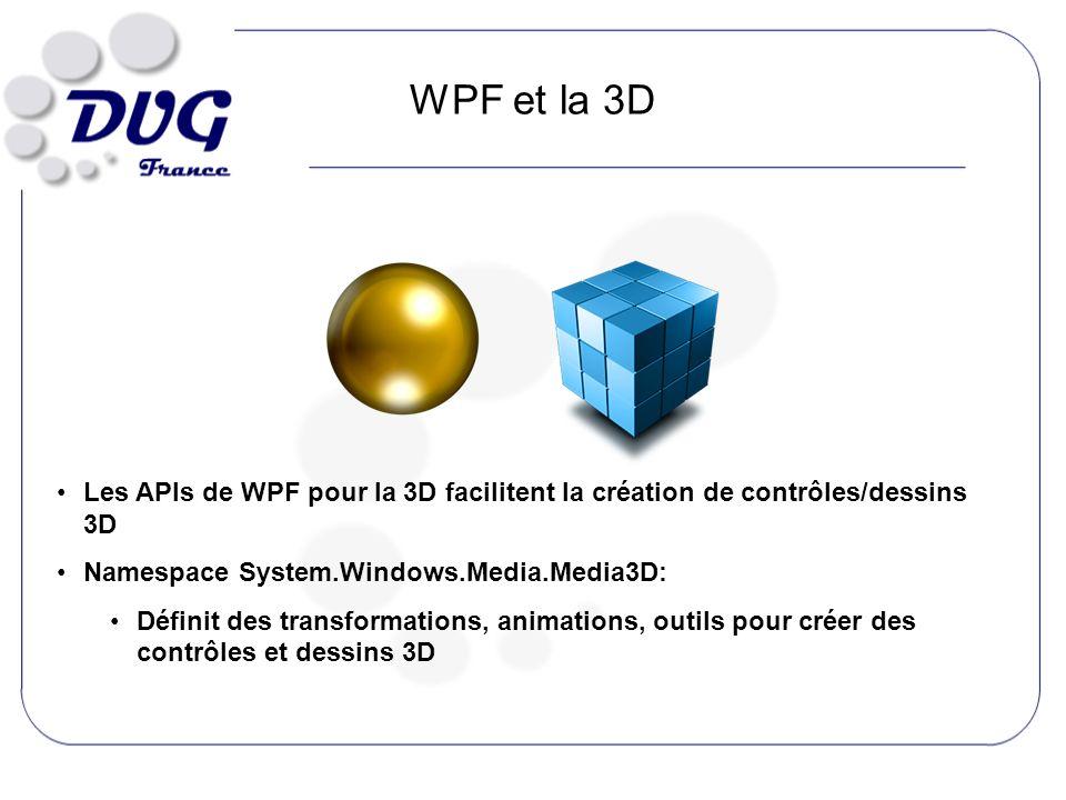 WPF et la 3D Les APIs de WPF pour la 3D facilitent la création de contrôles/dessins 3D Namespace System.Windows.Media.Media3D: Définit des transformations, animations, outils pour créer des contrôles et dessins 3D