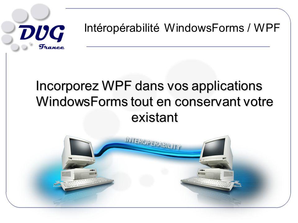 Intéropérabilité WindowsForms / WPF Incorporez WPF dans vos applications WindowsForms tout en conservant votre existant