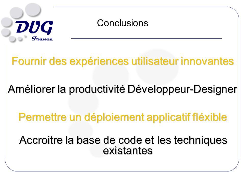 Conclusions Fournir des expériences utilisateur innovantes Améliorer la productivité Développeur-Designer Permettre un déploiement applicatif fléxible Accroitre la base de code et les techniques existantes