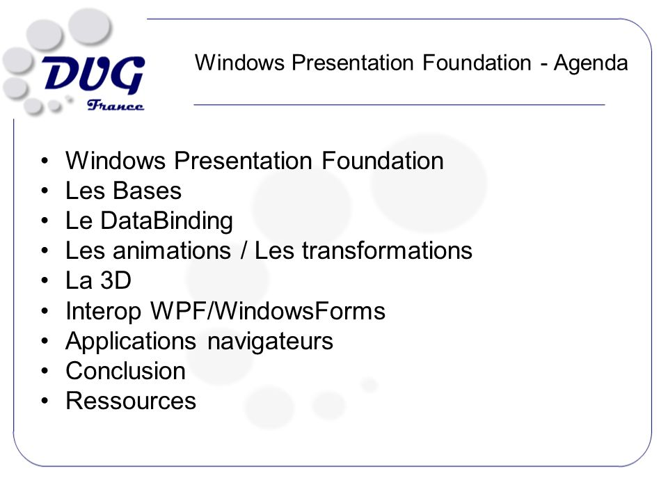 Présentation de WPF Windows Presentation Foundation