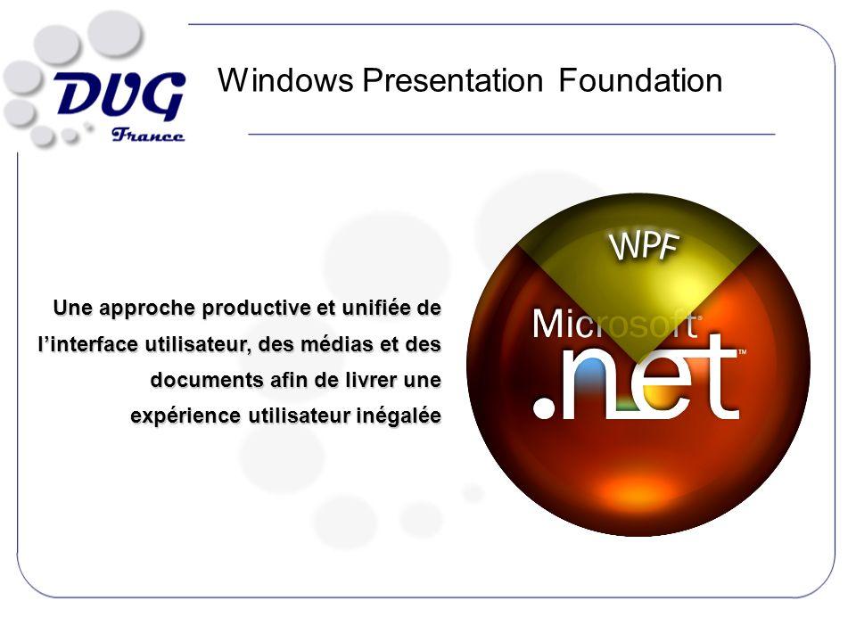 Windows Presentation Foundation Une approche productive et unifiée de linterface utilisateur, des médias et des documents afin de livrer une expérience utilisateur inégalée