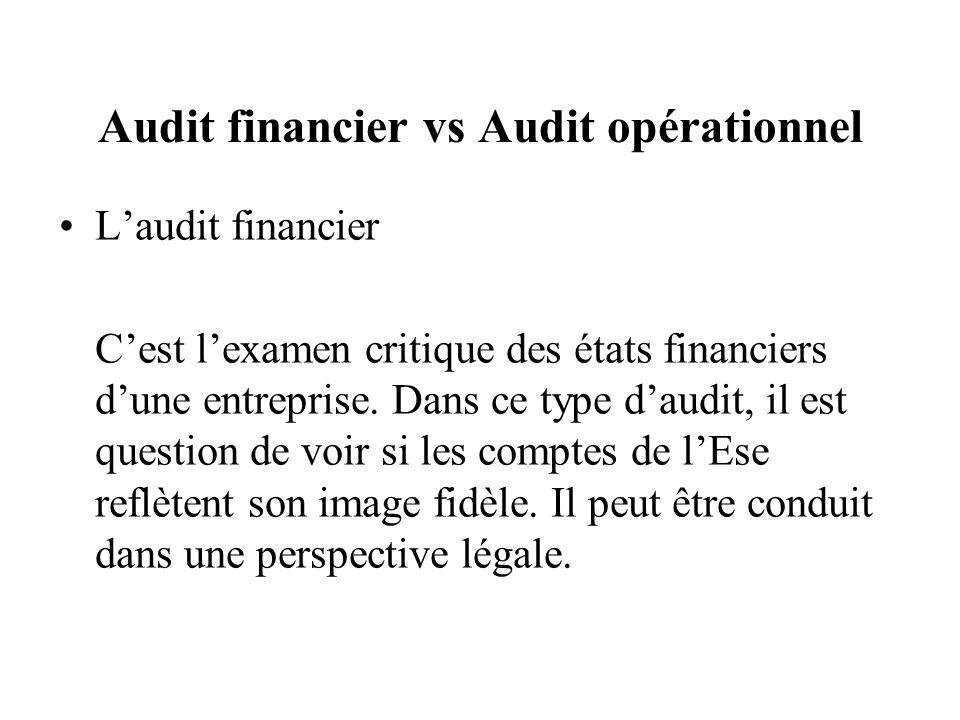 Audit financier vs Audit opérationnel Laudit financier Cest lexamen critique des états financiers dune entreprise.