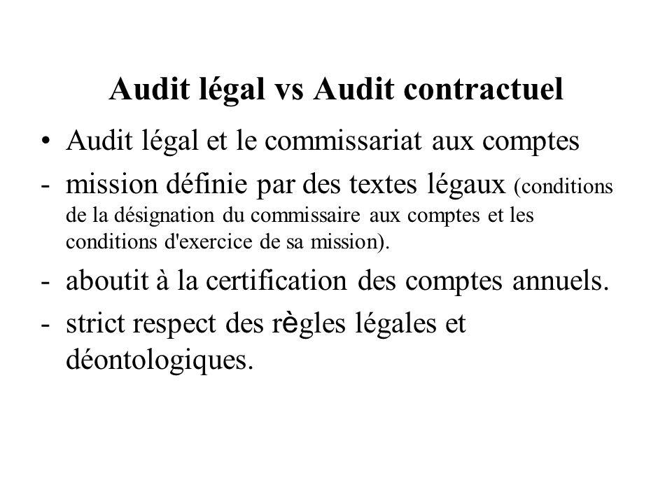 Audit légal vs Audit contractuel Audit légal et le commissariat aux comptes -mission définie par des textes légaux (conditions de la désignation du commissaire aux comptes et les conditions d exercice de sa mission).