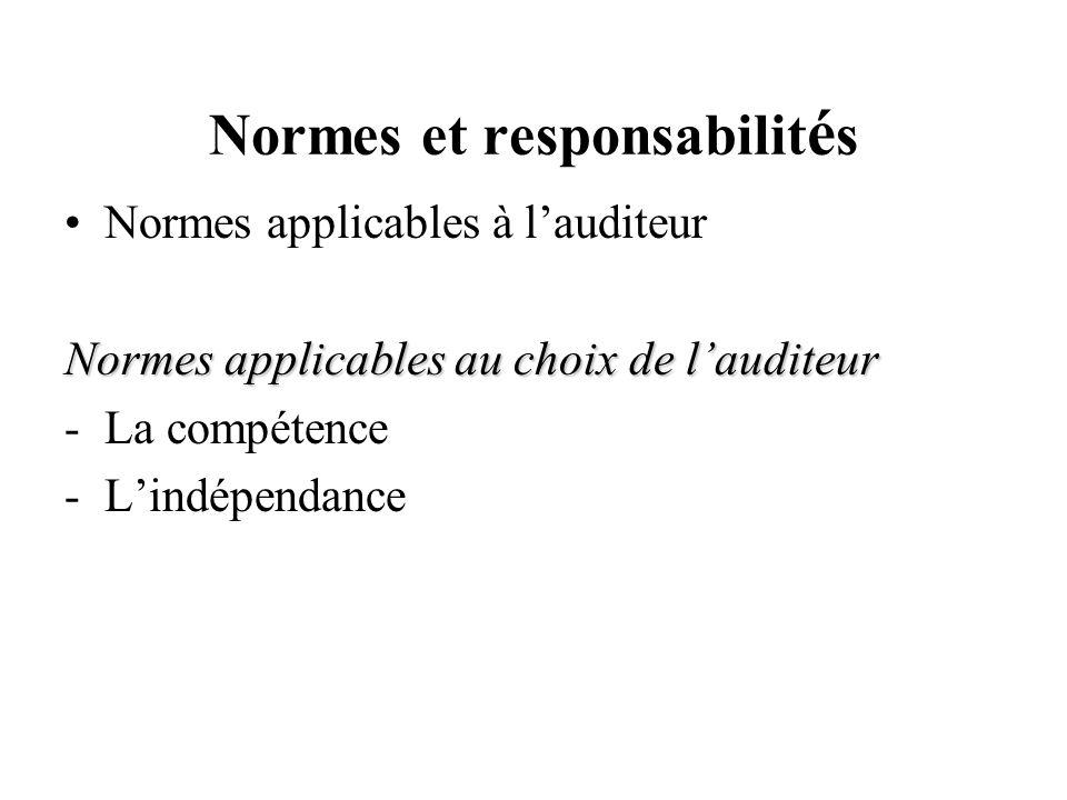 Normes et responsabilit é s Normes applicables à lauditeur Normes applicables au choix de lauditeur -La compétence -Lindépendance