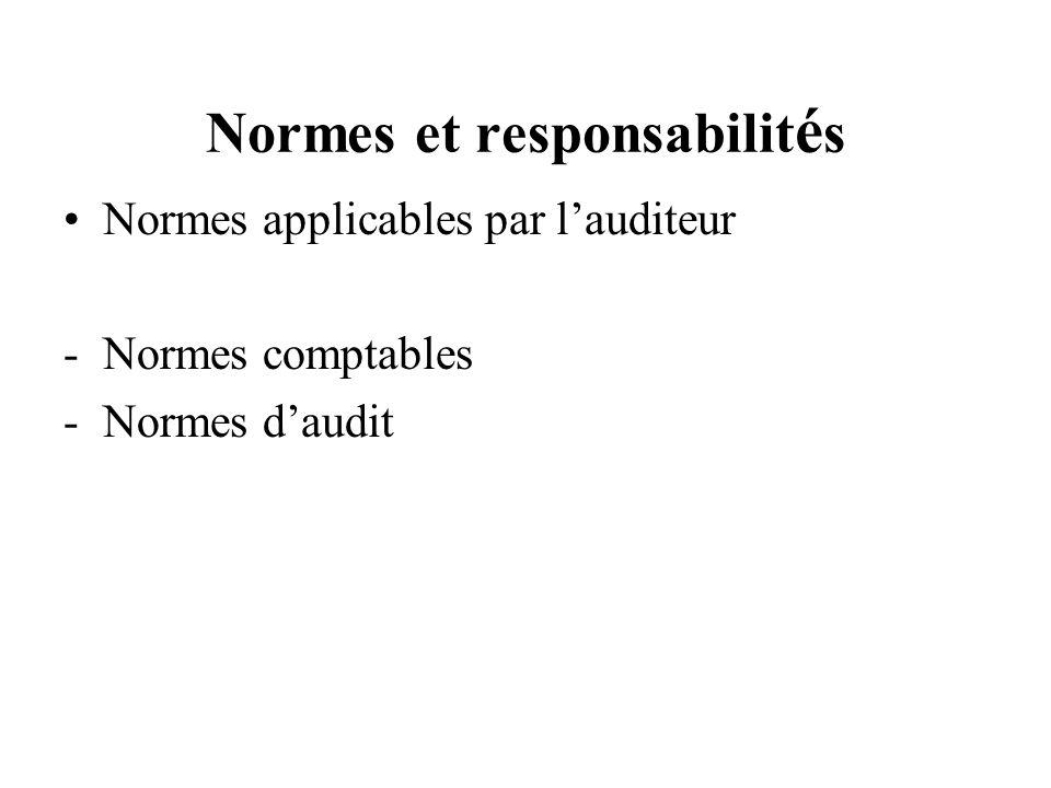 Normes et responsabilit é s Normes applicables par lauditeur -Normes comptables -Normes daudit