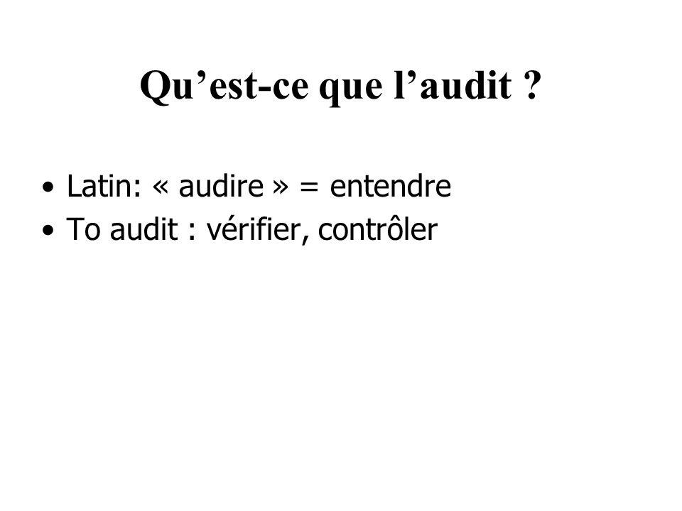Quest-ce que laudit ? Latin: « audire » = entendre To audit : vérifier, contrôler