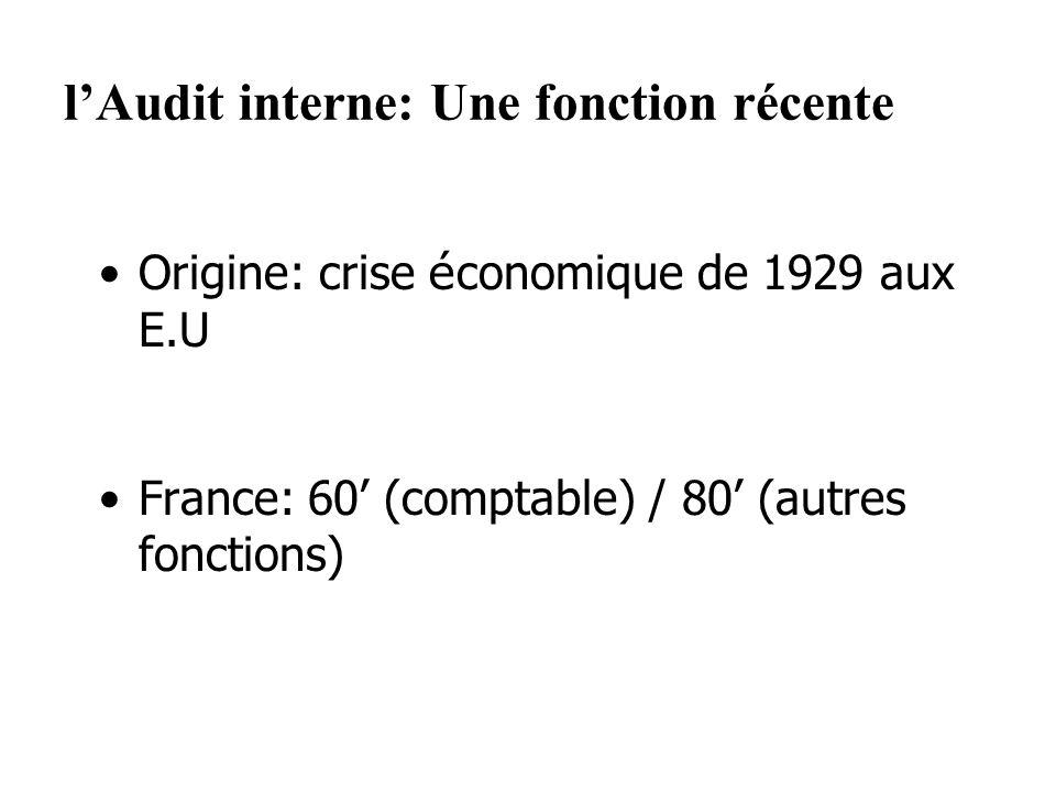 lAudit interne: Une fonction récente Origine: crise é conomique de 1929 aux E.U France: 60 (comptable) / 80 (autres fonctions)