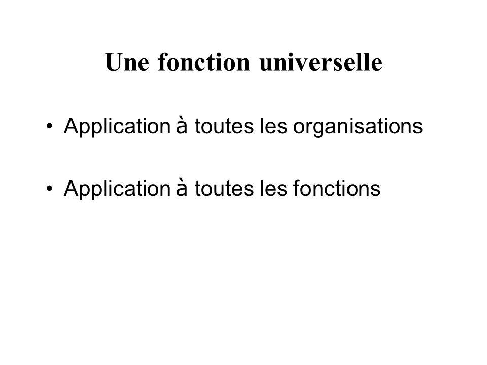 Une fonction universelle Application à toutes les organisations Application à toutes les fonctions