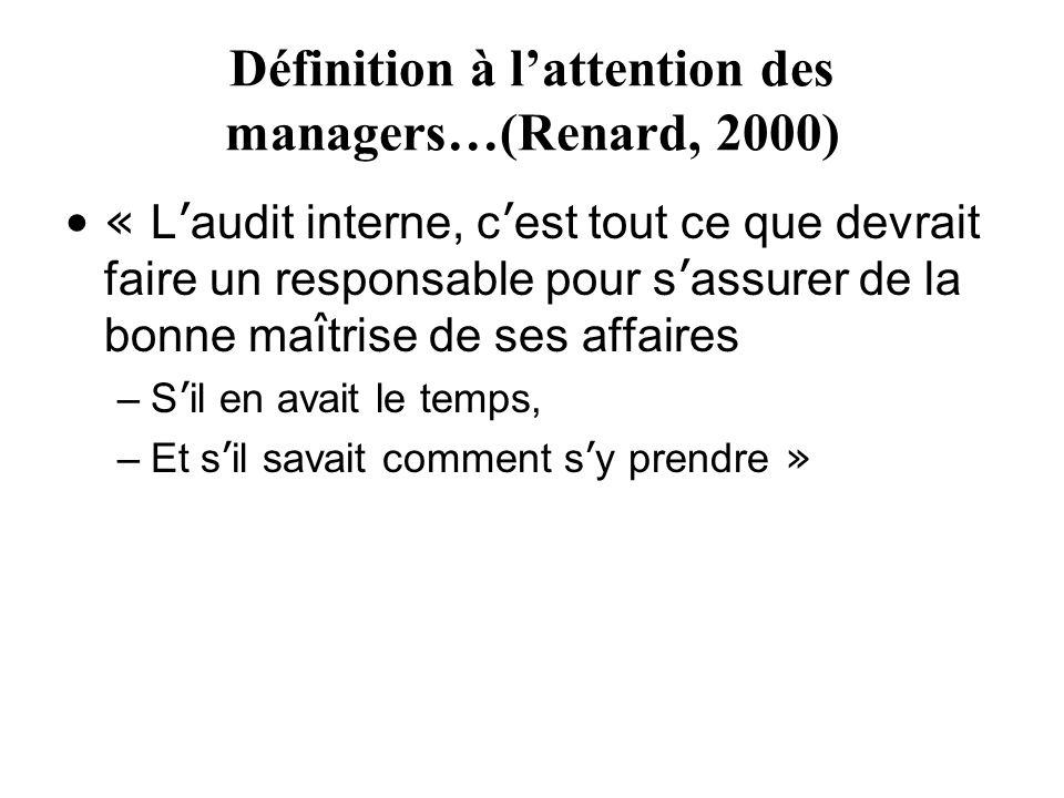Définition à lattention des managers…(Renard, 2000) « L audit interne, c est tout ce que devrait faire un responsable pour s assurer de la bonne ma î trise de ses affaires –S il en avait le temps, –Et s il savait comment s y prendre »