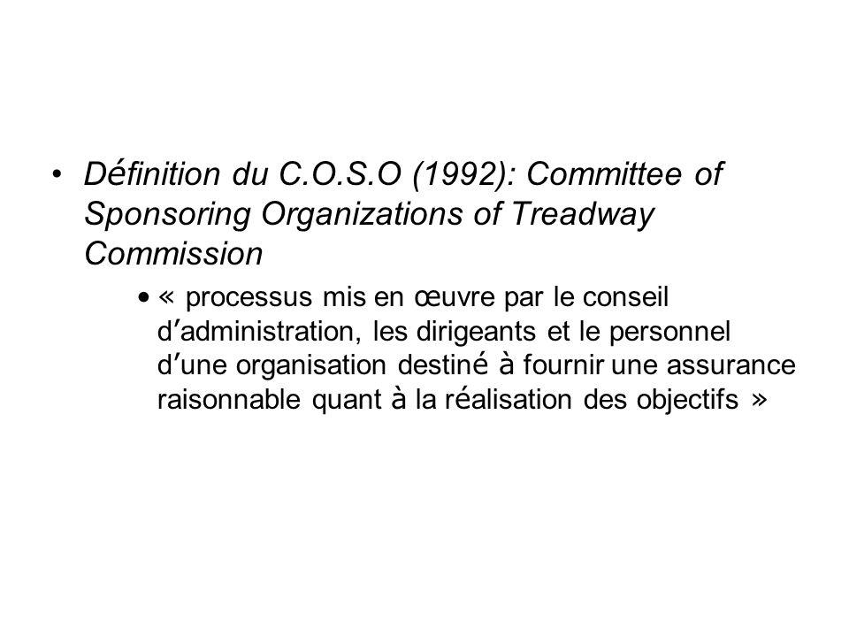 D é finition du C.O.S.O (1992): Committee of Sponsoring Organizations of Treadway Commission « processus mis en œ uvre par le conseil d administration, les dirigeants et le personnel d une organisation destin é à fournir une assurance raisonnable quant à la r é alisation des objectifs »
