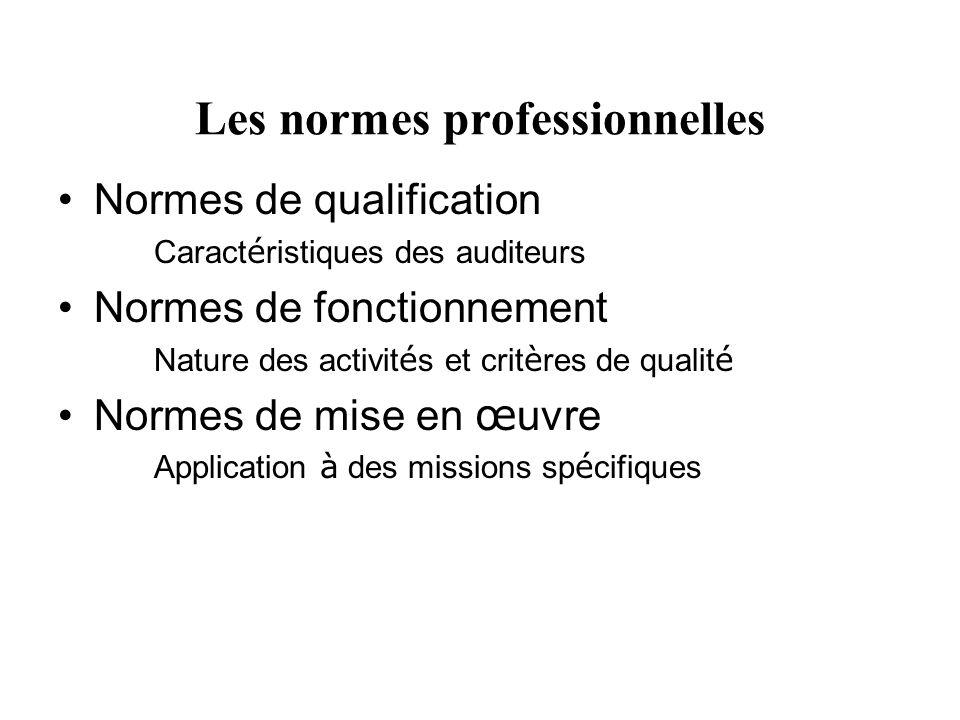 Les normes professionnelles Normes de qualification Caract é ristiques des auditeurs Normes de fonctionnement Nature des activit é s et crit è res de qualit é Normes de mise en œ uvre Application à des missions sp é cifiques