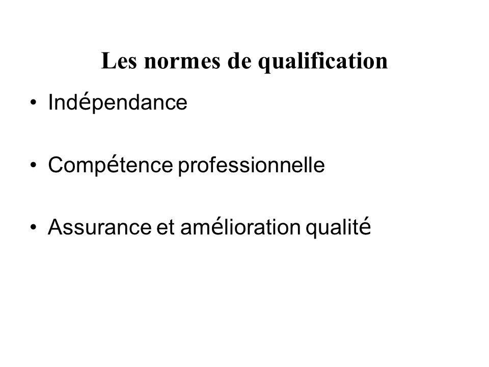 Les normes de qualification Ind é pendance Comp é tence professionnelle Assurance et am é lioration qualit é