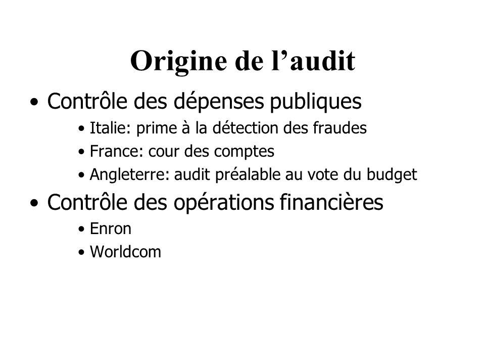 Origine de laudit Contrôle des dépenses publiques Italie: prime à la détection des fraudes France: cour des comptes Angleterre: audit préalable au vote du budget Contrôle des opérations financières Enron Worldcom