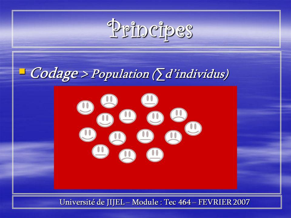 Principes Principes Codage > Population ( dindividus) Codage > Population ( dindividus) Université de JIJEL – Module : Tec 464 – FEVRIER 2007 Universi