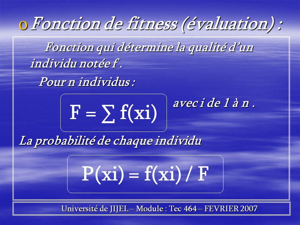 oFonction de fitness (évaluation) : Fonction qui détermine la qualité dun individu notée f. Fonction qui détermine la qualité dun individu notée f. Po