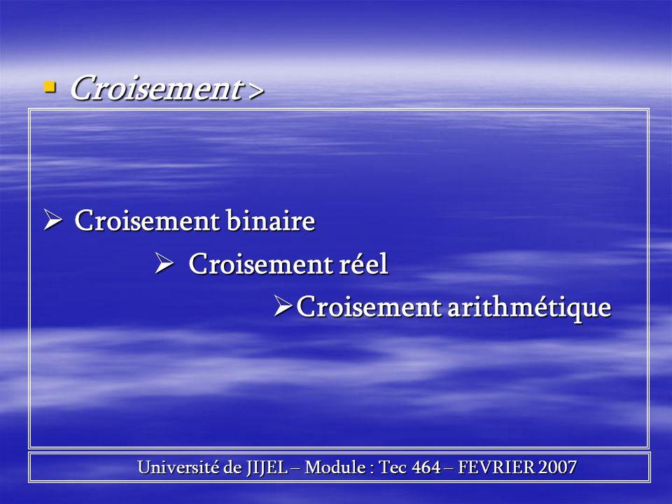 Croisement > Croisement > Croisement binaire Croisement binaire Croisement réel Croisement réel Croisement arithmétique Croisement arithmétique Univer