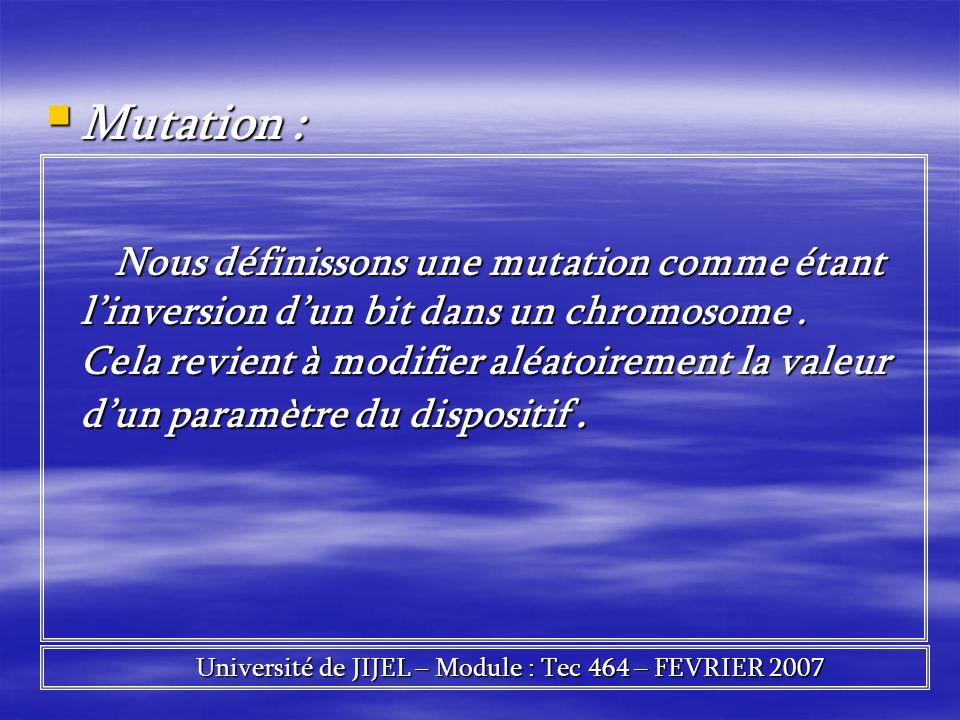 Mutation : Mutation : Nous définissons une mutation comme étant linversion dun bit dans un chromosome. Cela revient à modifier aléatoirement la valeur
