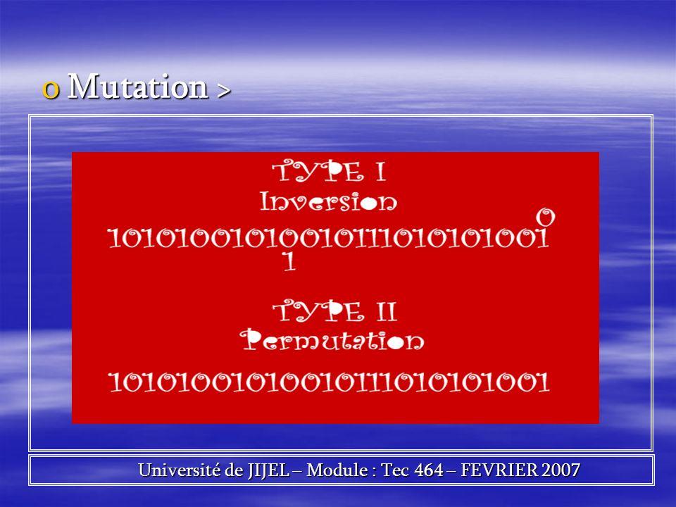 oMutation > Université de JIJEL – Module : Tec 464 – FEVRIER 2007 Université de JIJEL – Module : Tec 464 – FEVRIER 2007