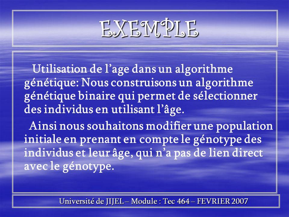 EXEMPLE EXEMPLE Utilisation de lage dans un algorithme génétique: Nous construisons un algorithme génétique binaire qui permet de sélectionner des ind