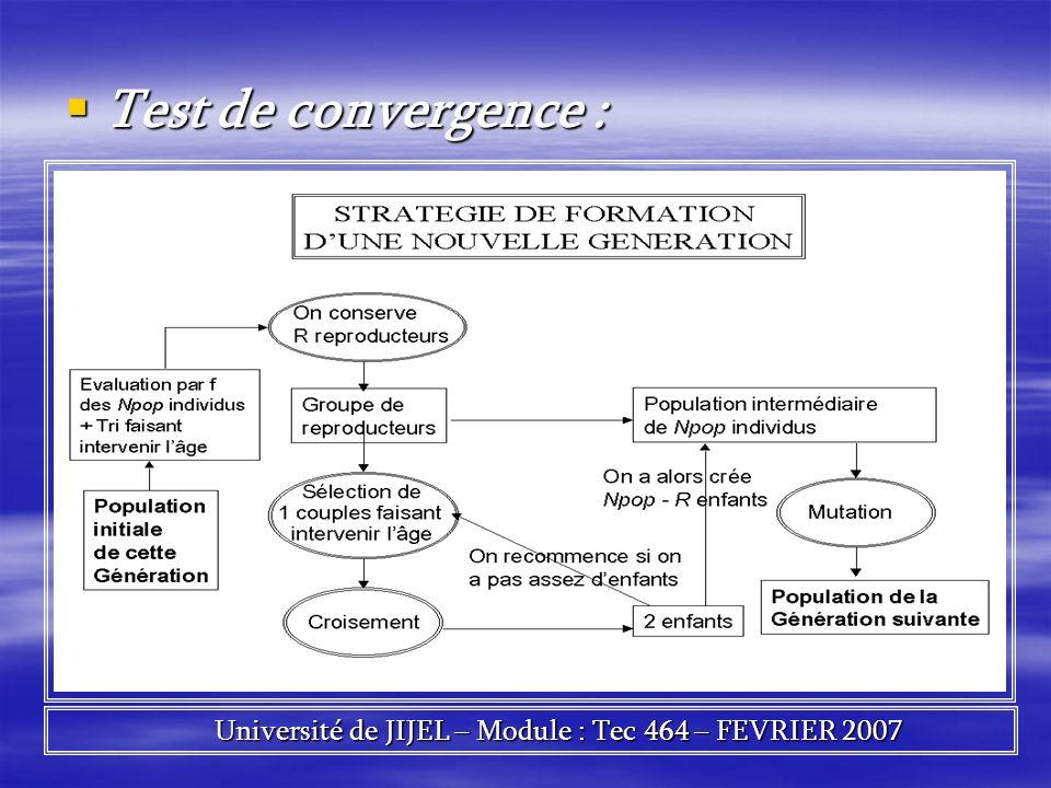 Test de convergence : Test de convergence : Université de JIJEL – Module : Tec 464 – FEVRIER 2007 Université de JIJEL – Module : Tec 464 – FEVRIER 200